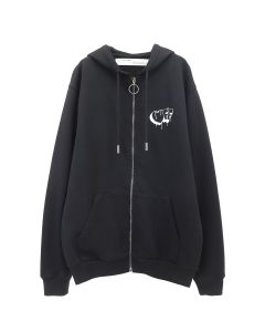 OFF-WHITE c/o Virgil Abloh WOMENS MARKERS ZIPPED HOODIE / 1001 : BLACK WHITE