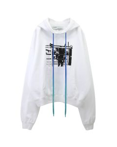 OFF-WHITE c/o Virgil Abloh MENS SCAFFOLDING OVER HOODIE / 0110 : WHITE BLACK