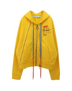 OFF-WHITE c/o Virgil Abloh MENS INDUSTR Y013 DOUBLE ZIP HOODIE / 6010 : YELLOW BLACK