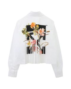 OFF-WHITE c/o Virgil Abloh WOMENS CROPPED PLISSE SHIRT / 0110 : WHITE BLACK