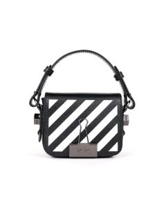 OFF-WHITE c/o Virgil Abloh WOMENS DIAG BABY FLAP BAG / 1001 : BLACK WHITE