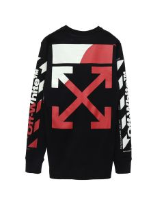 OFF-WHITE c/o Virgil Abloh MENS DIAG SPLIT LOGO L/S TEE / 1020 : BLACK RED