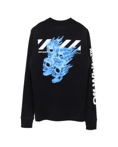 OFF-WHITE c/o Virgil Abloh MENS DIAG SKULLS L/S MOCK TEE / 1088 : BLACK MULTICOLOR