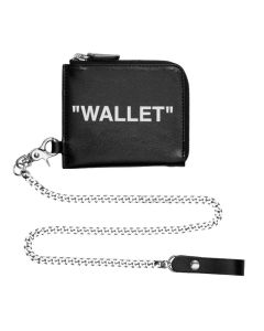 OFF-WHITE c/o Virgil Abloh MENS QUOTE ZIP CHAIN WALLET / 1001 : BLACK WHITE