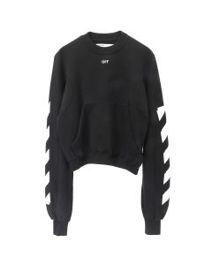 OFF-WHITE c/o Virgil Abloh WOMENS DIAG SWEATSHIRT / 1001 : BLACK WHITE