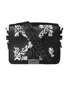 OFF-WHITE c/o Virgil Abloh WOMENS HANNA LEAVES FLAP BAG / 1001 : BLACK WHITE
