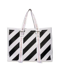 OFF-WHITE c/o Virgil Abloh WOMENS DIAG CANVAS TOTE / 0110 : WHITE BLACK
