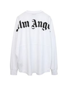 Palm Angels LOGO OVER TEE LS / 0110 : WHITE BLACK