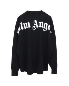 Palm Angels LOGO OVER TEE LS / 1001 : BLACK WHITE