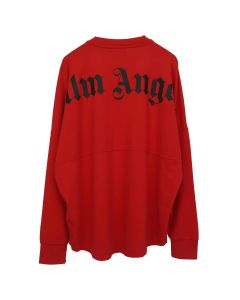 Palm Angels LOGO OVER TEE LS / 2010 : RED BLACK