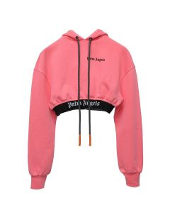 Palm Angels NEW BASIC CROPPED HOODY / 1201:FLUO PINK WHITE