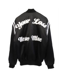 RHUDE YOUR LOSS NEVER MINE SATIN JACKET / BLACK