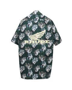 "RHUDE TRUCK STOP ""WOLF IN THE PINES"" SHIRT / GREEN"