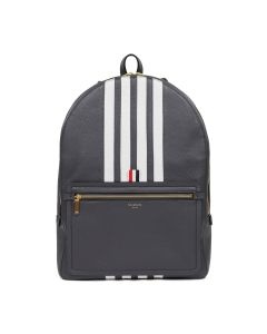 [お問い合わせ商品] THOM BROWNE. STRUCTURED BACKPACK W/ FLAT POCKET & CONTRASY 4 BAR STRIPE IN DEERSKIN LEATHER / 025
