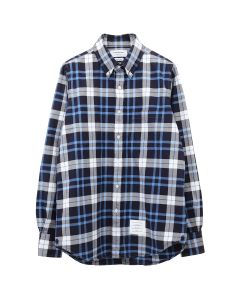 [お問い合わせ商品] THOM BROWNE. STRAIGHT FIT BUTTON DOWN LONG SLEEVE SHIRT W/ CB RWB GG IN TB TARTAN FLANNEL SHIRTING / 415 : NAVY