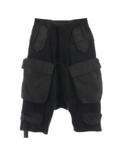 BEN TAVERNITI UNRAVEL PROJECT JSY CARGO DROP CROTCH SHORTS / BLK NO COLOR