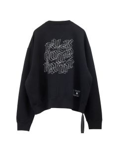BEN TAVERNITI UNRAVEL PROJECT FCK MOTIF T BRUSHED OVER CREWNECK / 1001 : BLACK WHITE