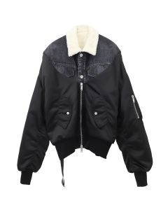BEN TAVERNIT UNRAVEL PROJECT SHEARLING NYLO HYB DNM BOMBER / 1000 : BLACK NO COLOR