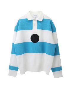 Xander Zhou LONG SLEEVES KNIT POLO PULLOVER WITH SILICON PATCH / WHITE-SKY BLUE