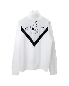 Xander Zhou LONG SLEEVES KNIT TURTLENECK PULLOVER WITH JACQUARD GRAPHICS / WHITE-BLACK
