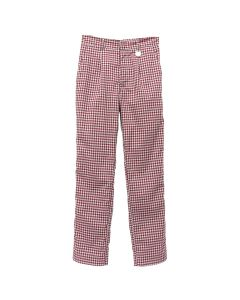 Xander Zhou TROUSERS WITH ELASTIC WAISTBAND / RED-GREY GRID