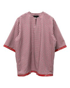 Xander Zhou SINGLE BUTTON DOWN DETAIL SHORT SLEEVES T-SHIRT / RED-GREY GRID